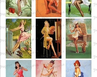 Vintage Pin-Up Girls Digital Download Collage Sheet C 3.5 x 2.25
