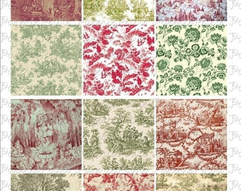 Red and Green Holiday Toile Digital Download Collage Sheet 2.5 x 2.5 inch
