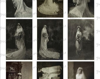 Vintage Brides Digital Download Collage Sheet