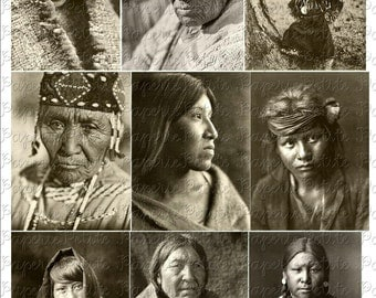 Native American Portraits Digital Download Collage Sheet C
