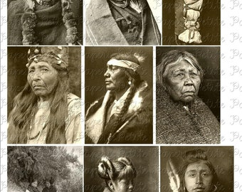 Native American Portraits Digital Download Collage Sheet
