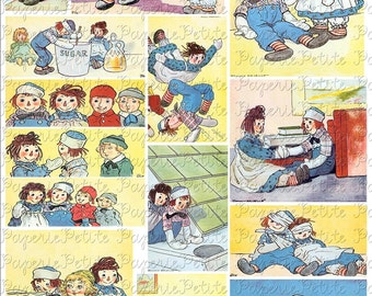 Raggedy Ann and Andy Digital Download Collage Sheet