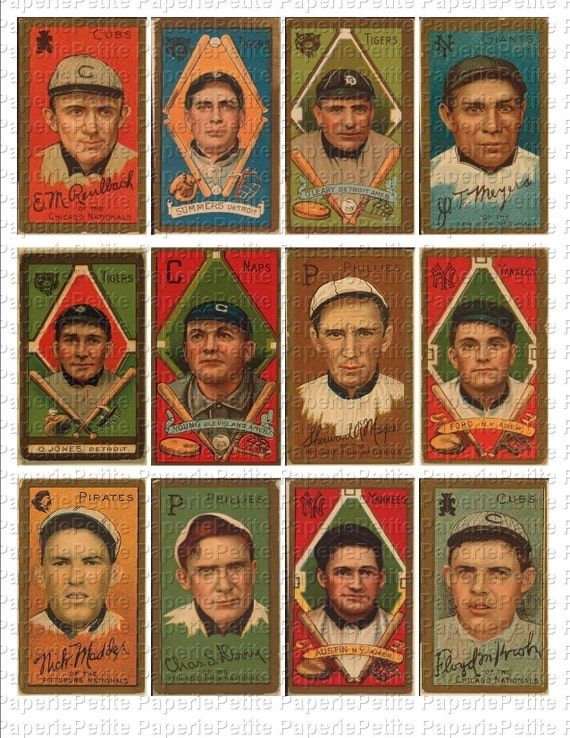 Vintage Baseball Cards Digital Download Collage Sheet B