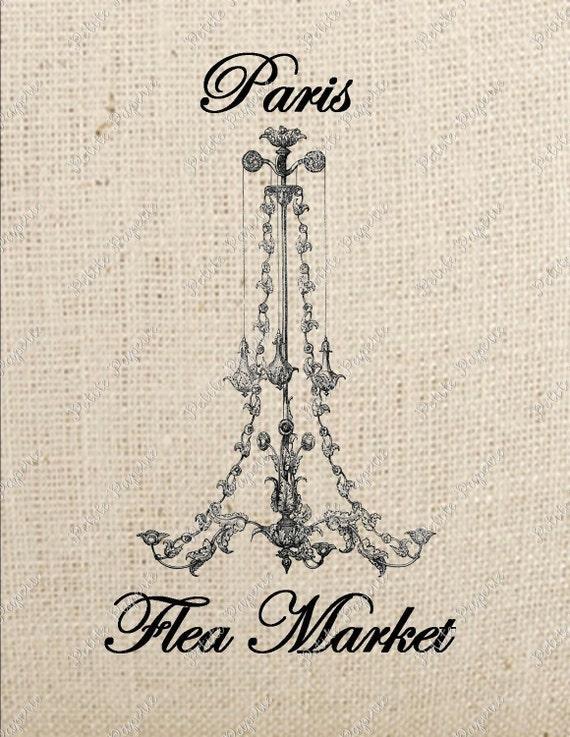 Paris Flea Market Chandelier Digital Download Iron on Transfer