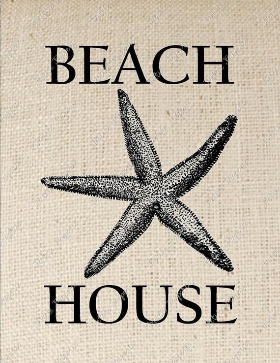 Starfish Beach House Digital Download Iron on Transfer