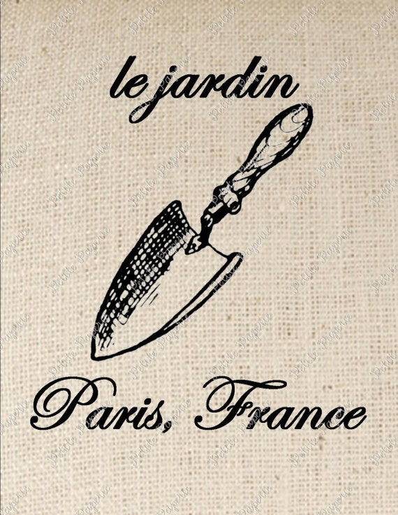 French Garden Trowel Digital Collage or Iron on Transfer