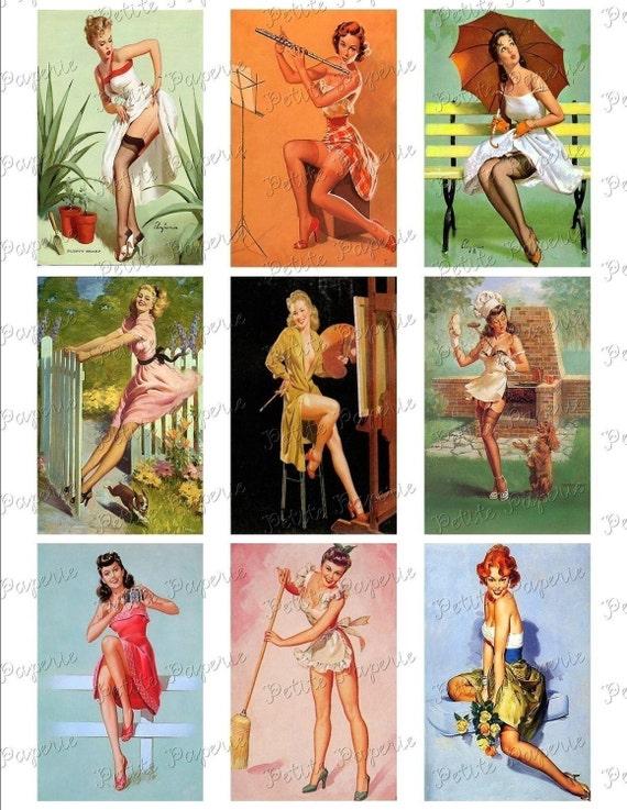 Vintage Pin-Up Girls Digital Download Collage Sheet C 3.5 x 2.25