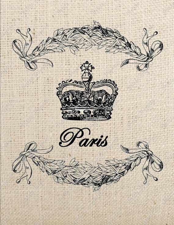 Digital Download Iron on Transfer French Crown with Laurel Leaves