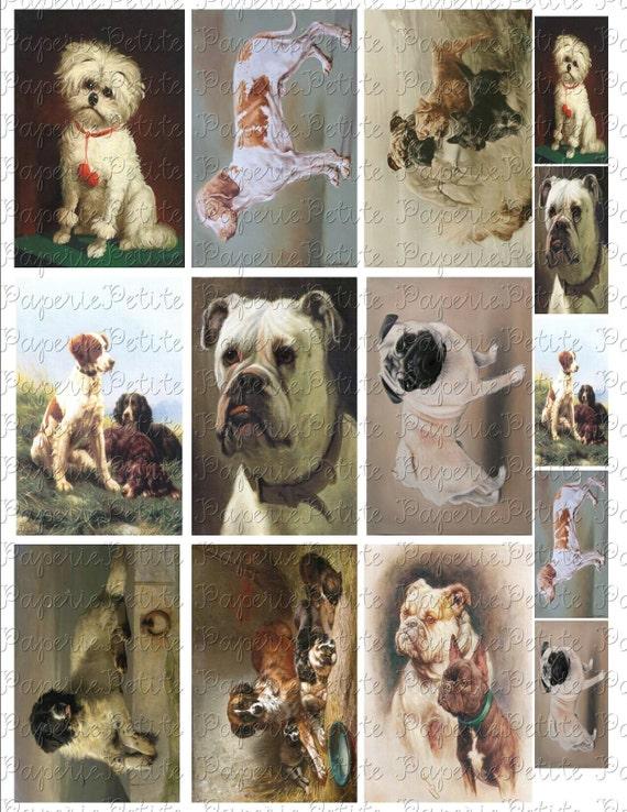 Vintage Dog Portraits Digital Download Collage Sheet 3.5 x 2.25 inches