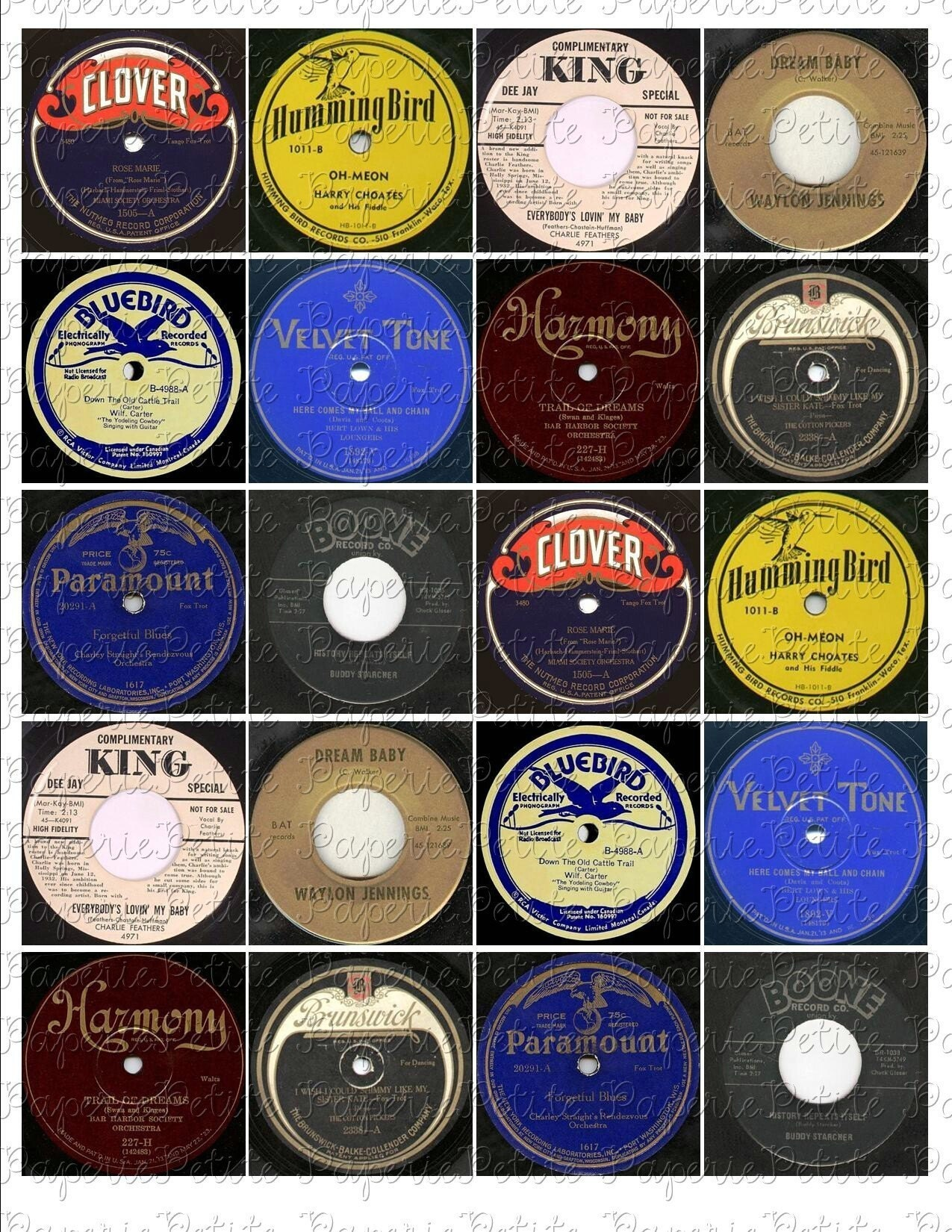 Vintage record labels digital download collage sheet 2 x 2 for Classic house record labels