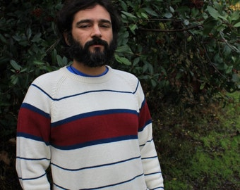 Come Sail Away - Vintage Striped 80s Sweater