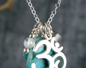yoga jewelry om ohm turquoise sterling silver charm necklace healing gemstones