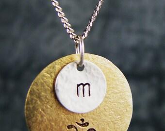 Hand Stamped Jewelry, Initial Charm Necklace, Om Yoga Jewelry