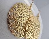 Round Gold Filigree Earrings, Gold Earrings