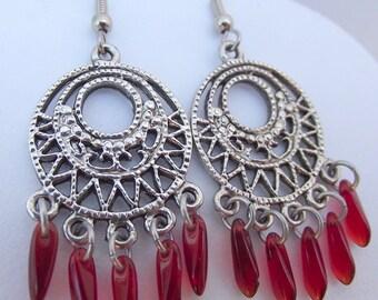 Medallion Filigree Silver Earrings with Red Czech Glass Dagger Beads