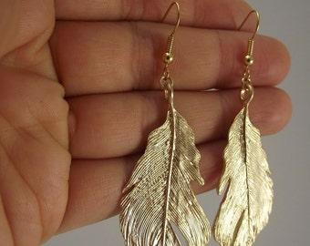 Bold Gold Feather Earrings, Gold Earrings, LAST ONES in stock!