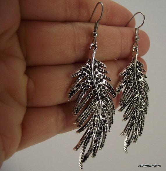 Textured Silver Feather Earrings, Antiqued Silver Earrings