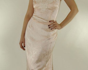 Vintage Pink Jacquard DRESS, Jessica McClintock, 1970s