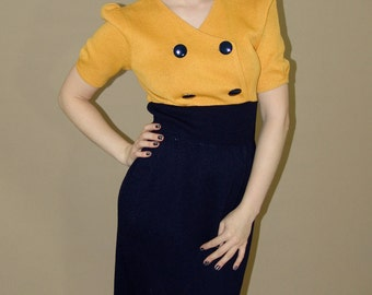 Vintage Yellow and Navy DRESS, 1960s