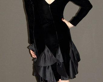 Vintage Black Velvet DRESS, Union Made, 1980s