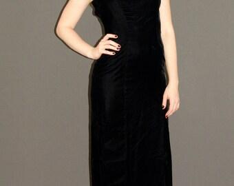 Vintage  Long Black Velvet DRESS, Union Made, 1960s