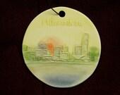 MILWAUKEE SKYLINE ORNAMENT   handmade ceramic ornament by Wisconsin watercolor artist