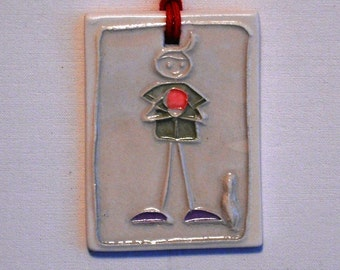 BOWLING BARNEY ceramic gift tag, pendent, ornament, bag charm   handmade bowl bowler original design by Wisconsin artist