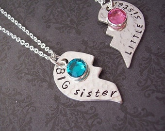 Custom BIG sister and  LITTLE Sister or Best Friends set of 2 necklaces in sterling silver