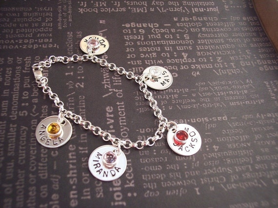 Hand Stamped Charm BRACELET for GRANDMA or Mother of Many Personalized with names and birthstones