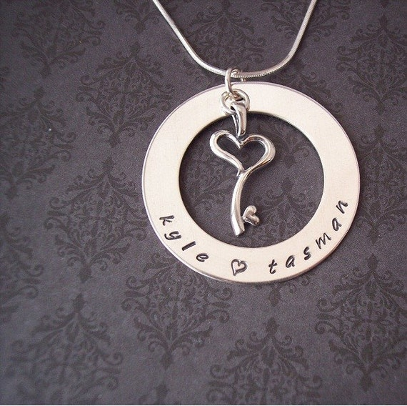 Custom Hand Stamped KEY to my HEARTcharm with Sterling Washer design