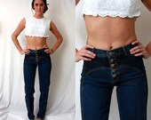 High Waist Button Fly Jeans - Skinny Body Con - 1980s kLAWMAN Denim - size 5