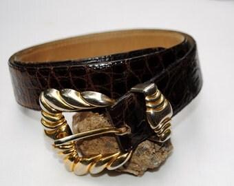 Alligator Belt - Brown Espresso - Brass Gold Silver Buckle - Exotic - Handmade - Women  XS