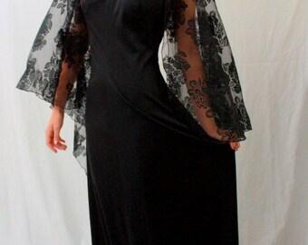 Black Angel Sleeve Maxi Dress - Jack Hartley 1970s - Rhinestones - Vintage 3 or 5