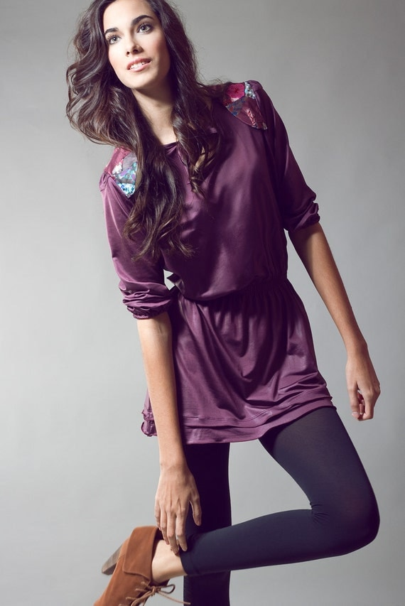 SUPERMEGASALE UNIQUE Bordeaux Mini DRESS/Tunic made to feel you Princess of  Casual Look