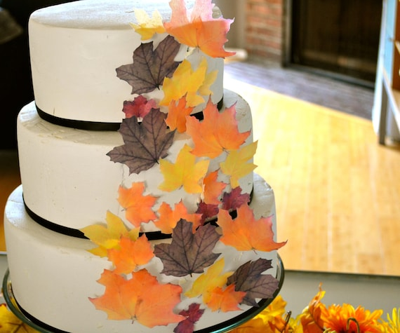 Wedding Cake Topper EDIBLE Fall Leaves - Assorted set of 32 -Cake & Cupcake toppers - Food Accessories