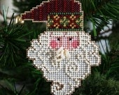 Santa Christmas Ornament - Santa Noel Cross Stitched and Beaded Holiday Tree Ornament - Free U.S. Shipping