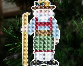 Alpine Santa Cross Stitched Christmas Ornament - Free U.S. Shipping