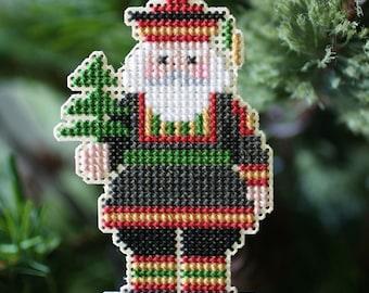 Santa Ornament - Scandinavian Santa Cross Stitched Ornament - Free U.S. Shipping
