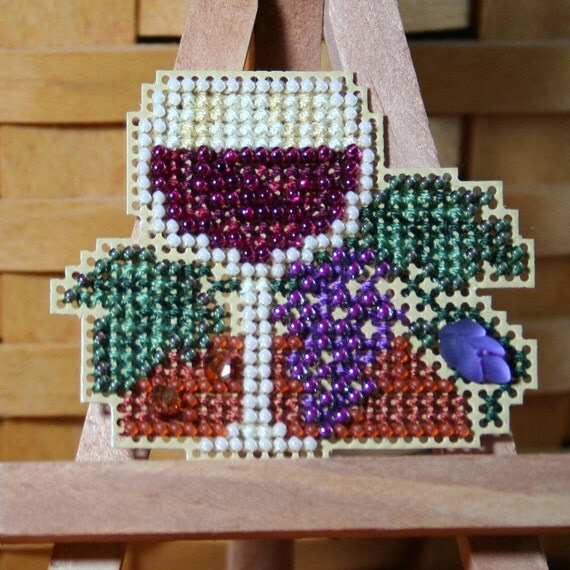 Wine Glass Beaded Cross Stitch Ornament, Pin, or Magnet - Free Shipping