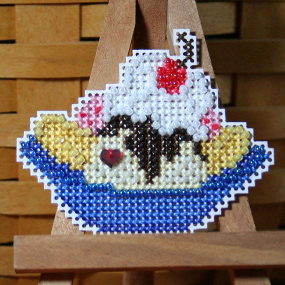 Banana Split Beaded Cross Stitch Ornament, Pin, or Magnet - Free U.S. Shipping
