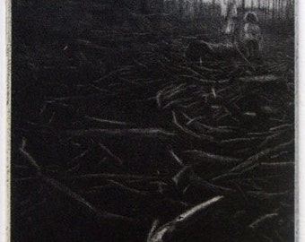 "Original miniature art print ""The Clearing"". Mezzotint. 10x5.5 cm."