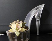 succulent planter. reclaimed stiletto. upcycled lucite high heel shoe. wedding bridal centerpiece