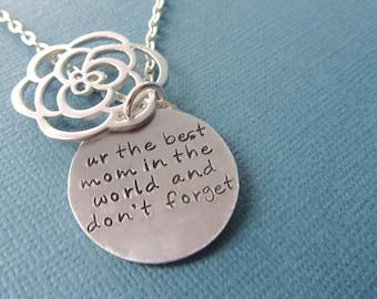 Secret message Necklace Sterling Silver Filled Flower - Silver Pendant Mother Wife Girlfriend Sister best friend