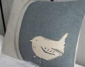 hand printed little linen  wren cushion