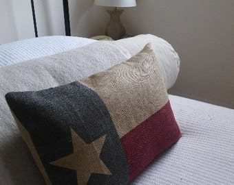 hand printed Texas State  flag cushion cover