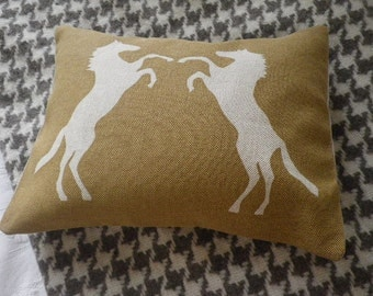 Handprinted  rearing horses cushion
