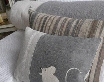 handprinted  greys mouse cushion