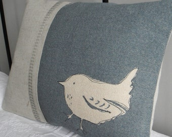 hand printed little linen  wren cushion