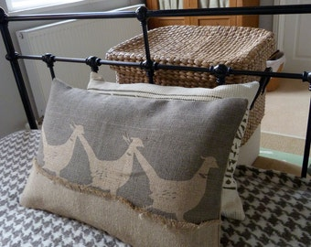 hand printed  muted grey triple pheasant cushion cover