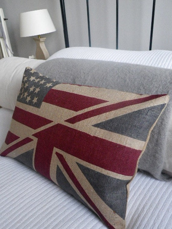 new hybrid  rustic hand printed stars and stripes/union jack cushion cover